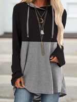 Black-Grey Long Sleeve Hoodie Paneled Shirts & Tops