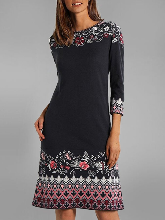 Black A-Line Casual Floral Printed Dresses