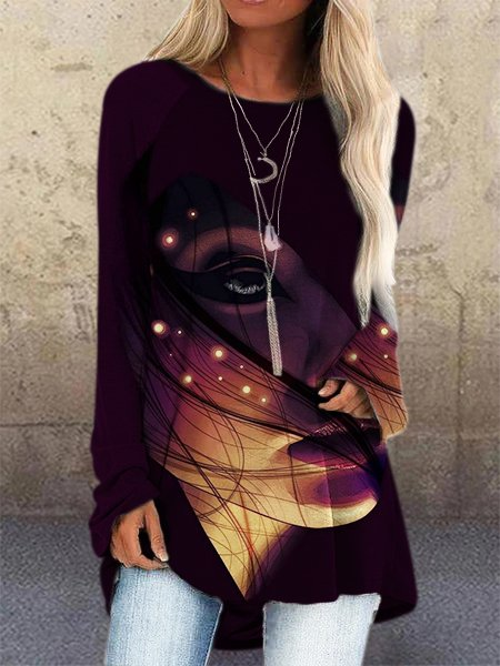 Purplish Red Long Sleeve Abstract Crew Neck Shirts & Tops