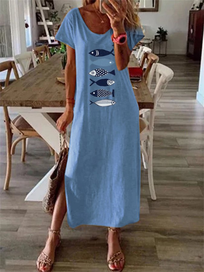 Blue Crew Neck Animal Short Sleeve Holiday Dresses