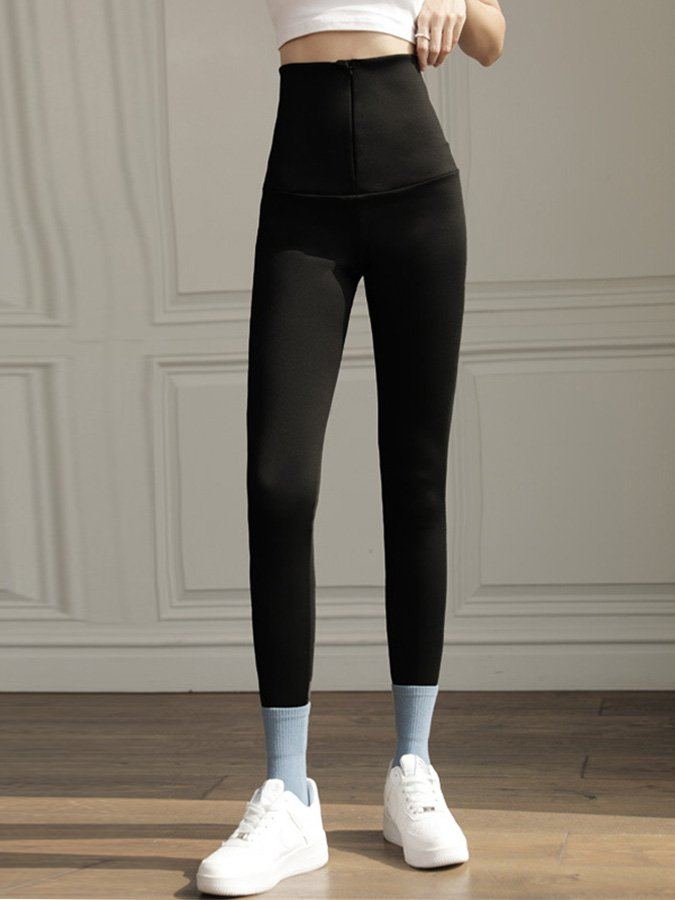 Black Zipper Sheath Casual Pants