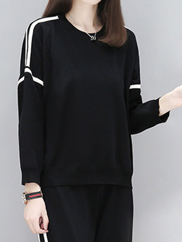 Black Casual Cotton Crew Neck Shift Suits