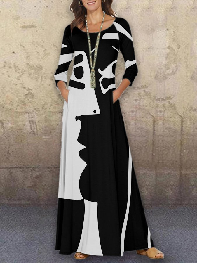 Graphic Crew Neck Printed Long Sleeve Dress