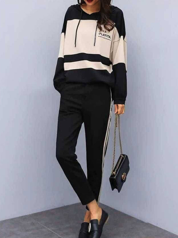 Casual Long Sleeve Cotton Geometric Suits