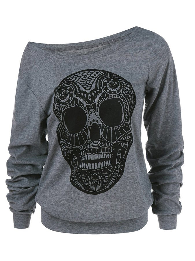 Gray Shift Casual Crew Neck Cotton Shirts & Tops