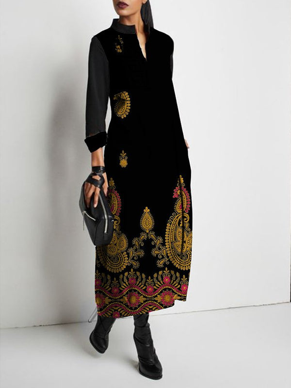 Casual Stand Collar Tribal Printed Dress