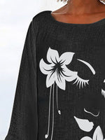 Black Printed A-Line Long Sleeve Casual Shirts & Tops