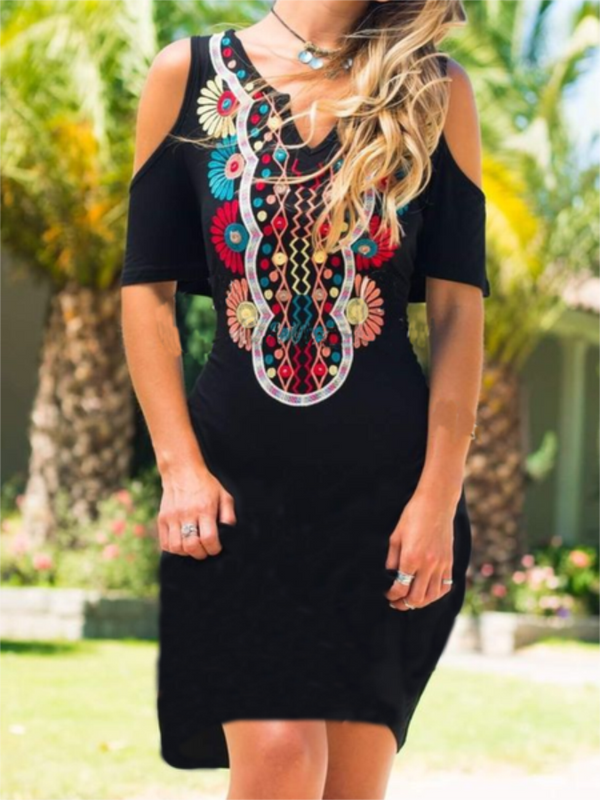 Black Cotton-Blend Cold Shoulder V Neck Tribal Dresses