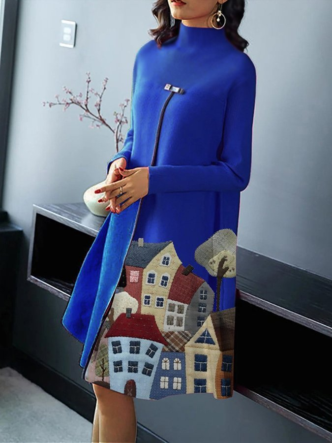 Long Sleeve Casual A-Line Abstract Dresses