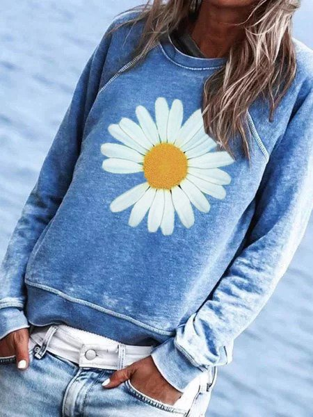 Blue Cotton-Blend Crew Neck Floral Casual Shirts & Tops
