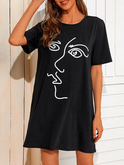 Abstract Casual Crew Neck Short Sleeve Dresses