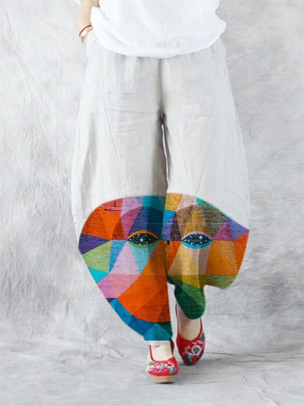 White Linen Cocoon Casual Abstract Pants