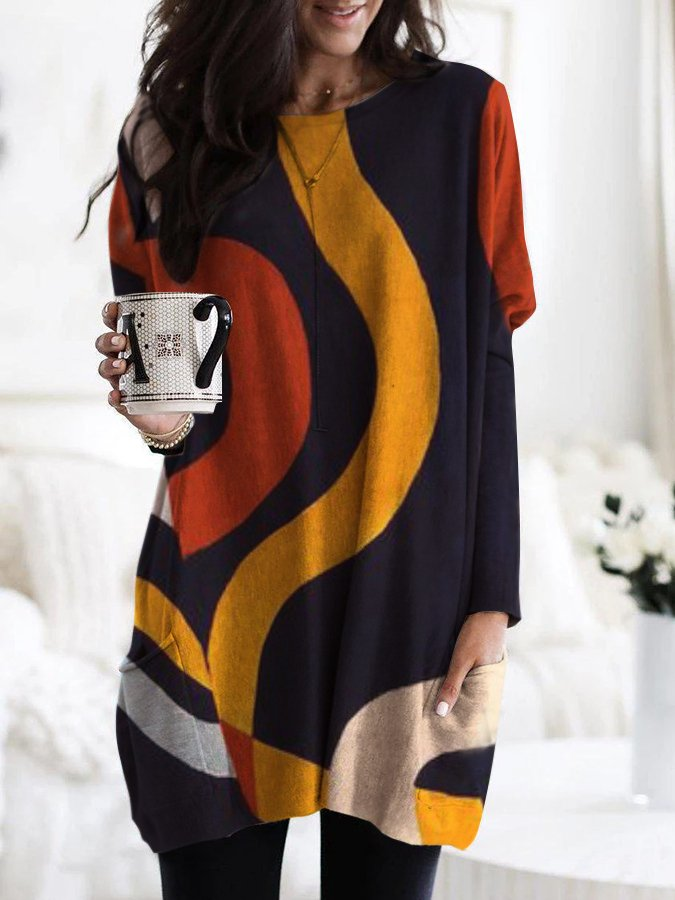 Geometric Line Print Casual Long-Sleeved Top