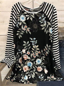Black Long Sleeve Round Neck Printed Shirts & Tops