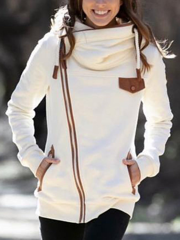 Beige Shift Plain Casual Sweatshirt