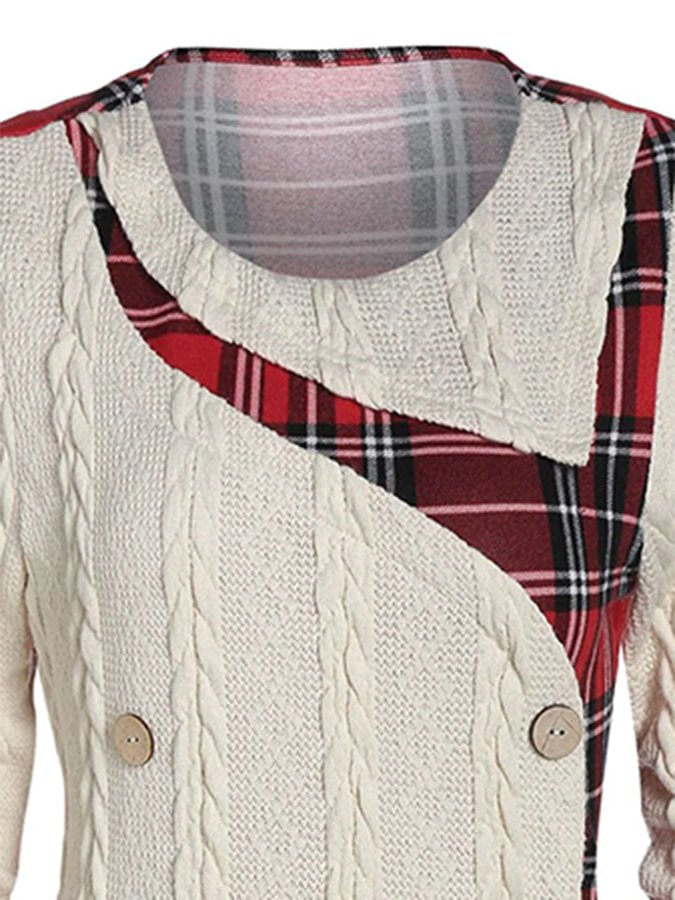 Apricot Long Sleeve Crew Neck Checkered/plaid Sweater