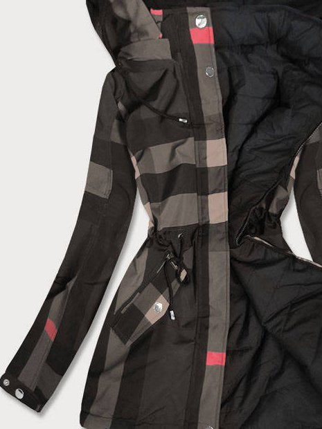 Black Shift Checkered/plaid Long Sleeve Hoodie Outerwear