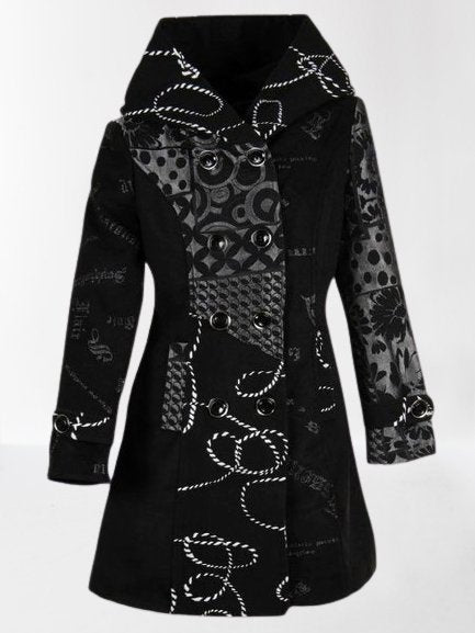Black Vintage Tribal Turtleneck Outerwear