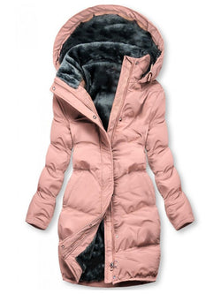 Pink Casual Cotton-Blend Hoodie Solid Outerwear