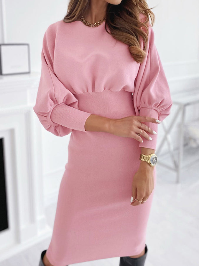 Crew Neck Solid Long Sleeve Dresses