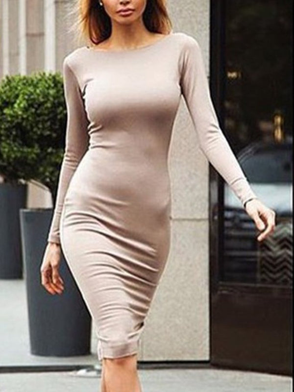 Casual Long Sleeve Solid Dresses