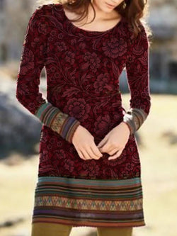 Wine Red Crew Neck Floral Printed Long Sleeve Dresses