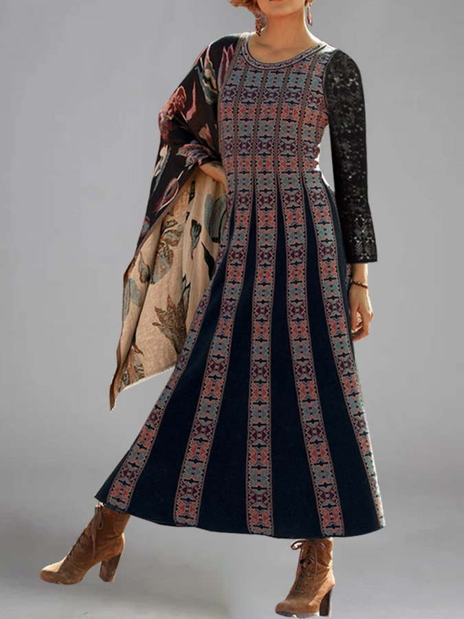 Shift Round Neck Vintage Printed Dresses