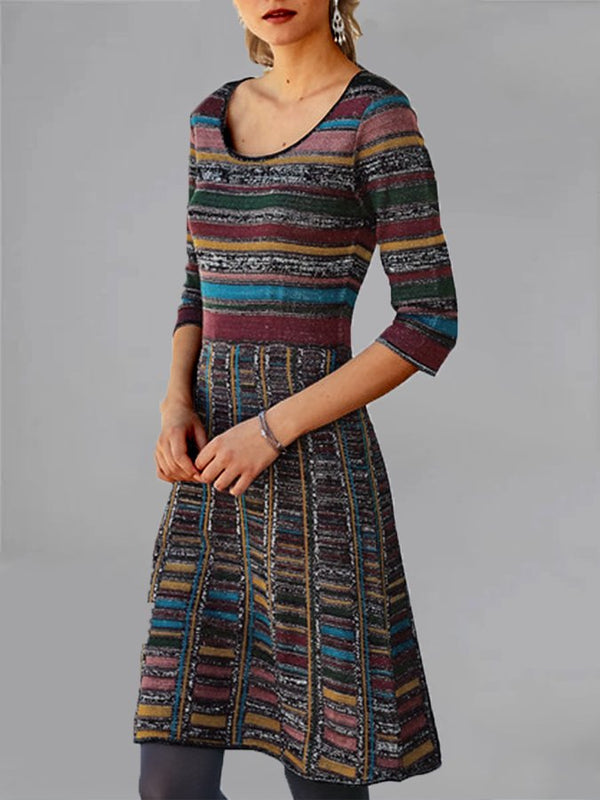Women Vintage Half Sleeve Round Neck Dresses