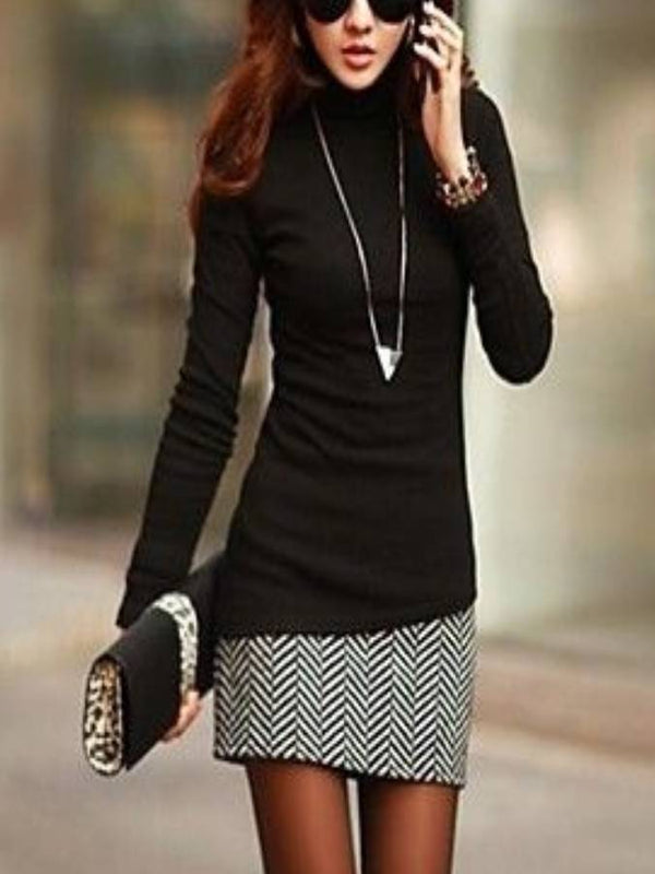 Black Sheath Cotton-Blend Crew Neck Long Sleeve Dresses