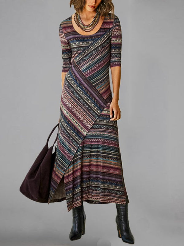 Multicolor Round Neck Half Sleeve Vintage Dresses
