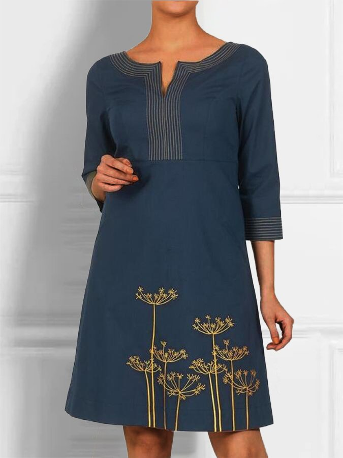 Blue Work Plant 3/4 Sleeve V Neck Dresses