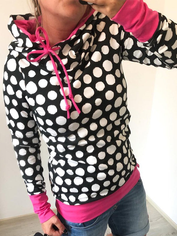 Black Casual Polka Dots Printed Hoodie Sweatshirt
