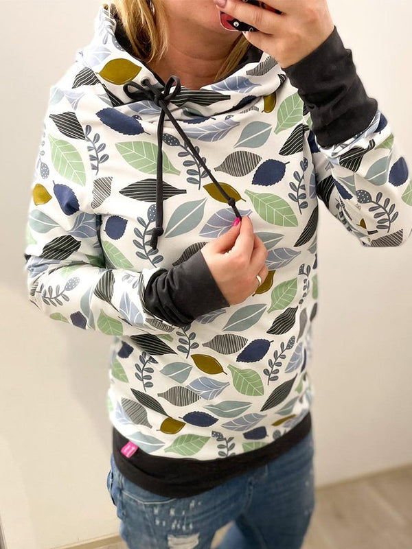 White Long Sleeve Hoodie Leaf Printed Sweatshirt