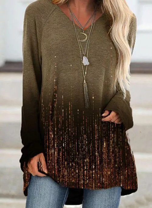 Casual Gradient Print V Neck Long SleeveTops