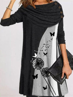 Floral Casual Long Sleeves Knee Length Dresses