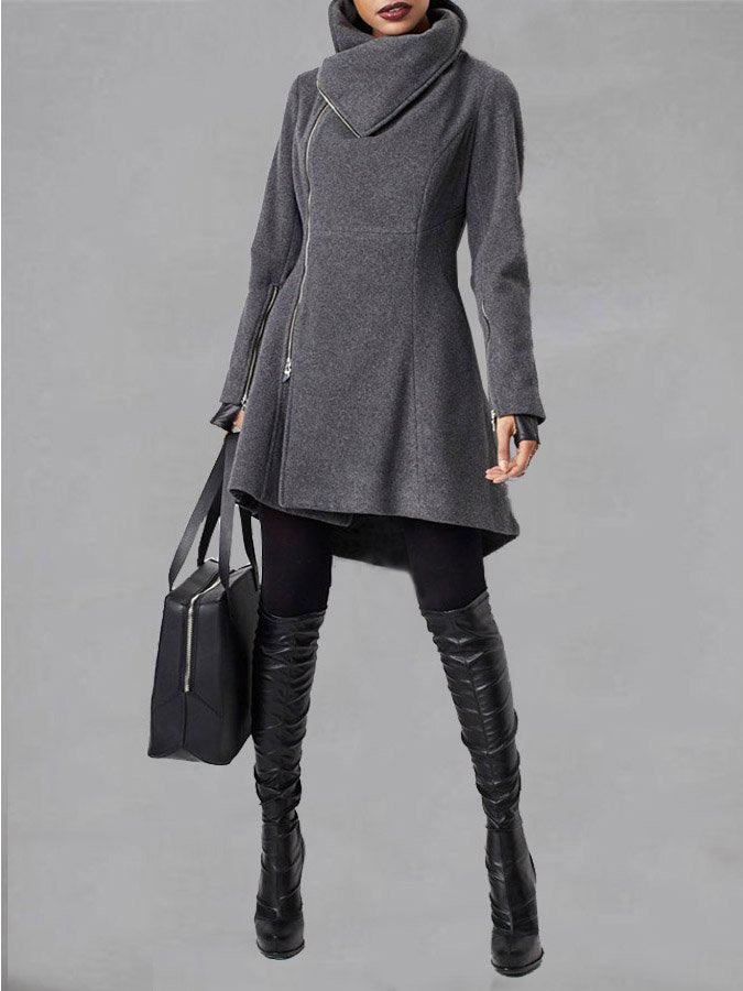 Turn-Down Collar Zipper Long Sleeve Solid Coat