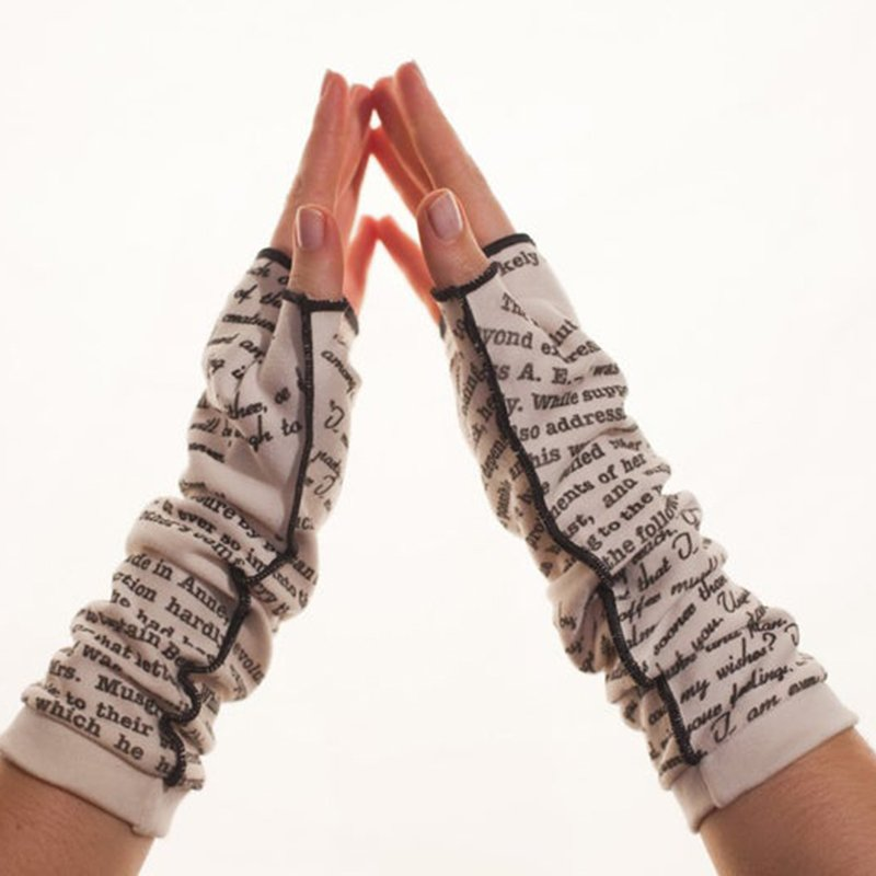 White Unisex Casual Letters Printed Gloves