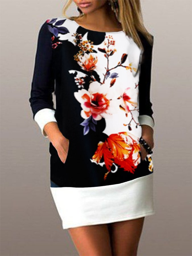 Black-White Casual Shift Long Sleeve Dresses