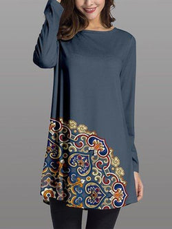 Blue Printed Crew Neck Long Sleeve A-Line Dresses