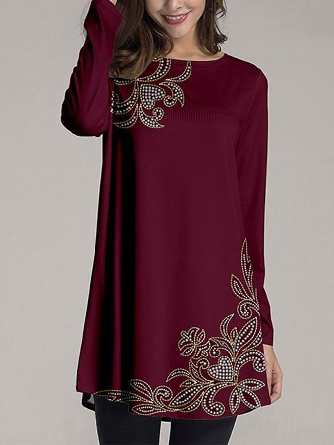 Wine Red Crew Neck A-Line Geometric Long Sleeve Dresses