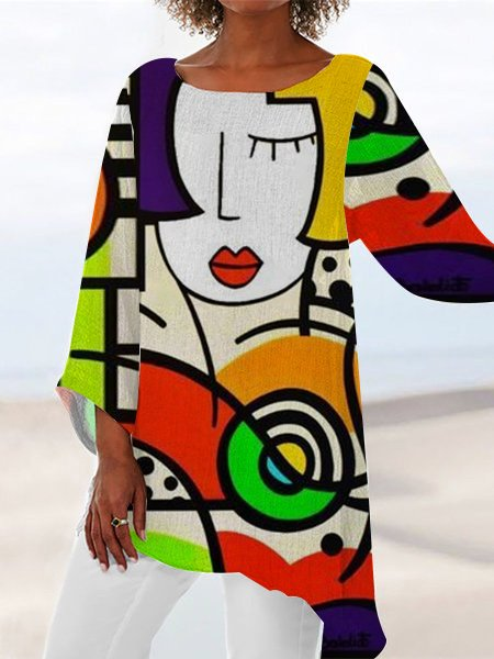Yellow Long Sleeve Printed Abstract A-Line Dresses