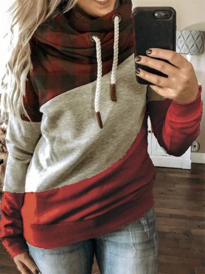 Red Checkered/plaid Hoodie Long Sleeve Sweatshirt