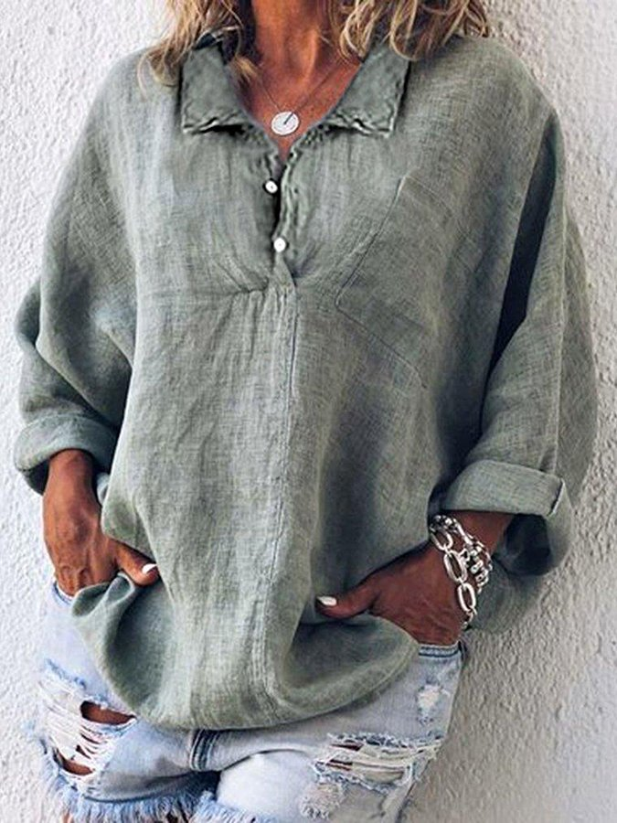 Shift Casual V Neck Buttoned Shirts & Tops