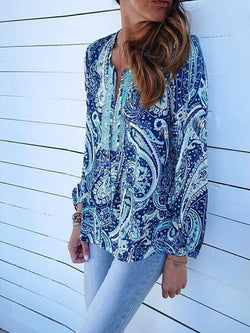 Blue V Neck Long Sleeve Geometric Shirts & Tops