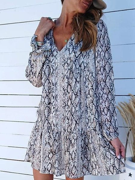 Patchwork Long Sleeve Boho Dresses