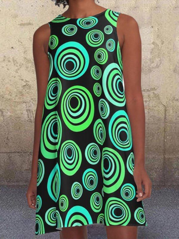 Geometric Circle Pattern Pocketrs Green Sleeveless Crew Neck A-line Dresses