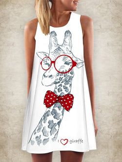 Crew Neck Printed A-Line Sleeveless Dresses