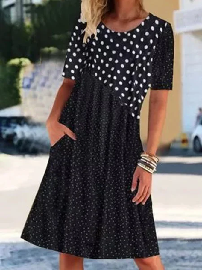 Black Short Sleeve Holiday Printed Dresses