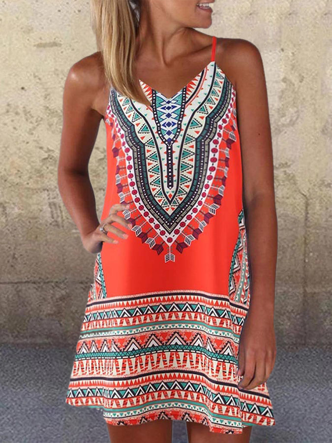 Printed Boho Tribal Sleeveless Dresses