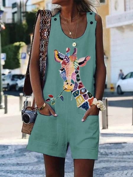 Sleeveless Round Neck Giraffe Printed Jumpsuit